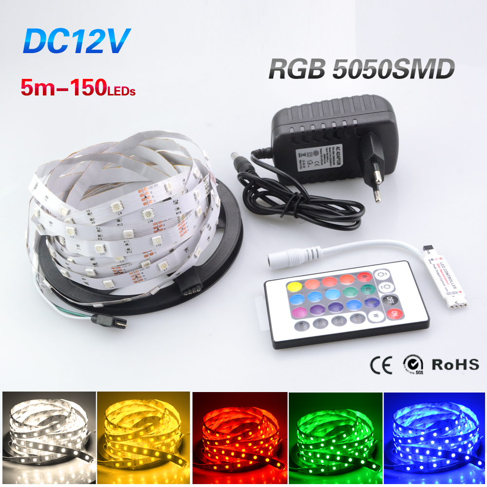 Foxanon RGB Led Strip 5050 5M 150LEDs DC12V 30LED/M Flexible Tiras Light Ribbon Lamps With 2A Power and 24Key Remote Controller(China (Mainland))