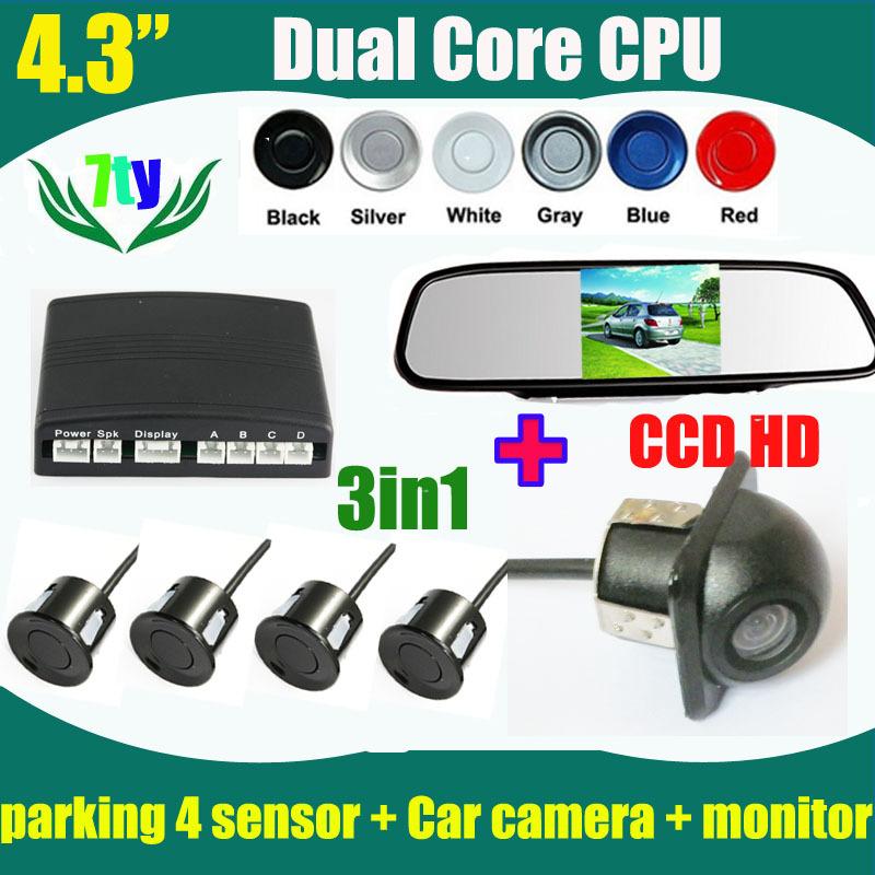 4.3inch car rearview monitor mirror TFT and Universal CCD HD Car rear view backup reverse camera and parking sensor(China (Mainland))
