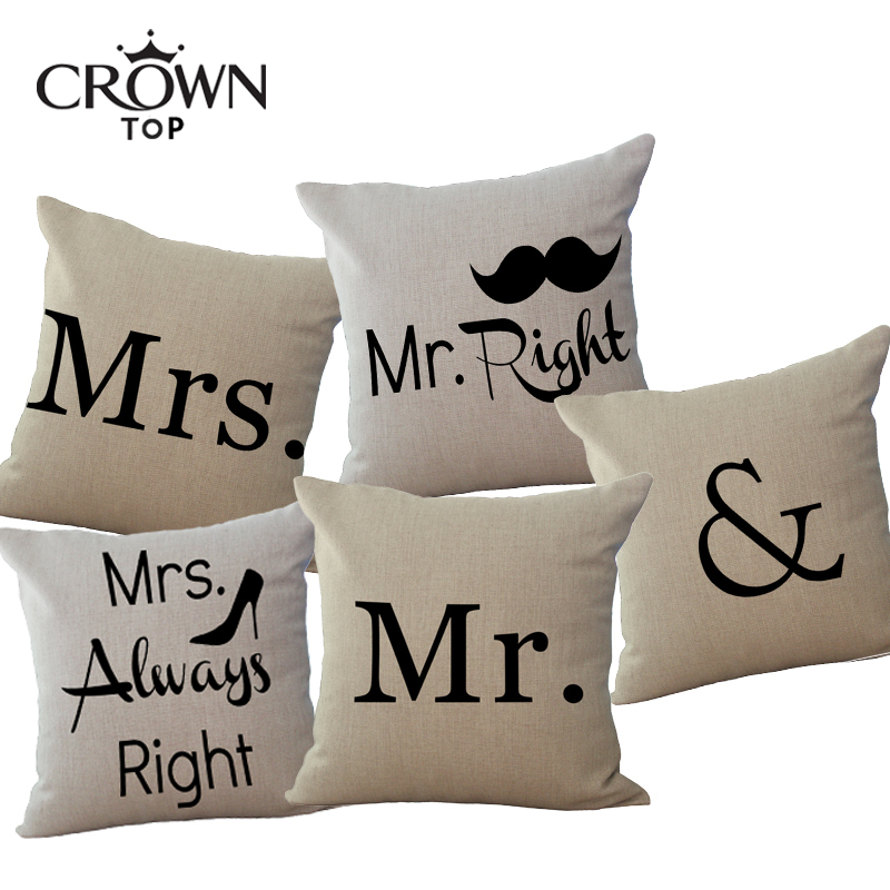 Mickey Mr. and Mrs. cotton linen pillow cover Square decorative sofa throw cushion case Car seat pillowcase Lover decoration