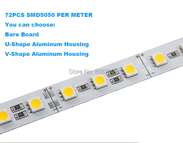 1000mm 72PCS/SMD5050 LED Rigid strip, Jewelry lighting,12V DC Non-waterproof, aluminum U/V shape housing optional