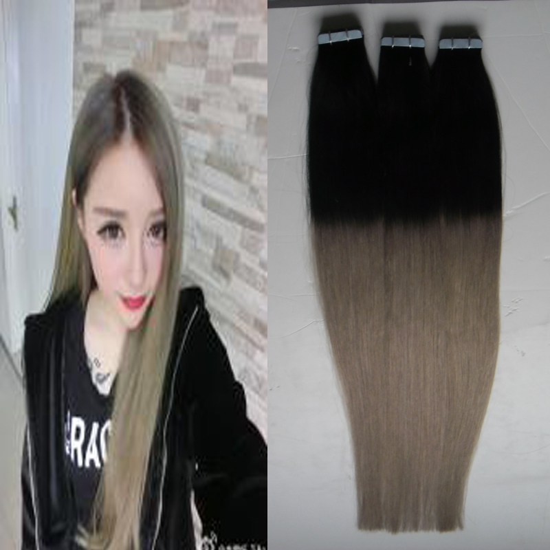 Unprocessed Indian ombre Tape Hair Extensions 300G Skin Weft Tape in Huma Hair Extensions adhesive Hair Extension Tape in ombre
