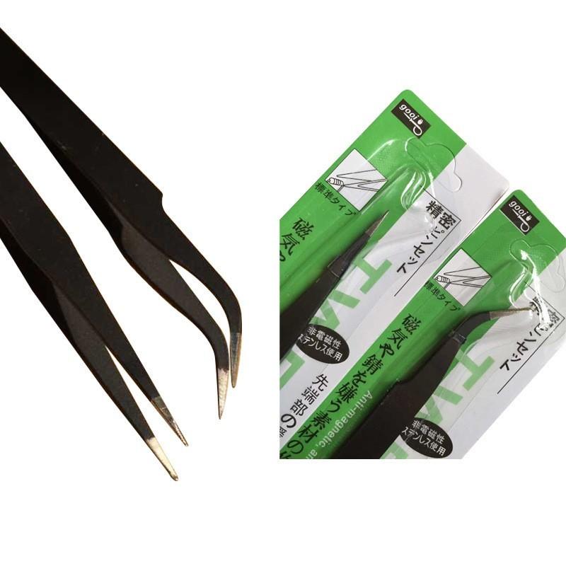 Stainless Steel Nail Art Tweezer Tool Nail Art Gem Decor Picking Tools Eyelash Straight Curved Straight Tweezers (2)