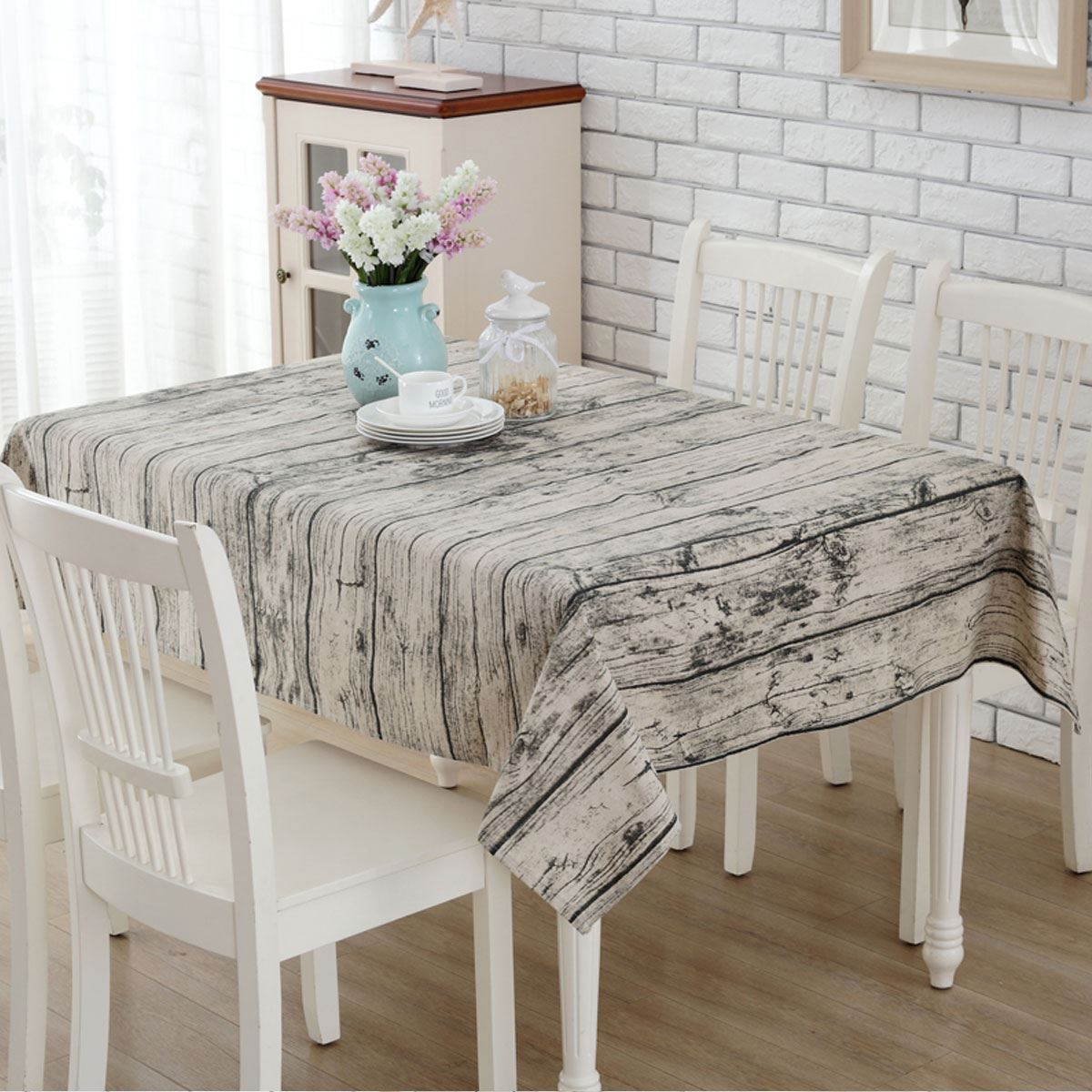 140 x 180cm Burlap Table Runners Wood Grain Tablecloth Cheap Tablecloths for Sale Linen Simple Knitted Striped Classic(China (Mainland))