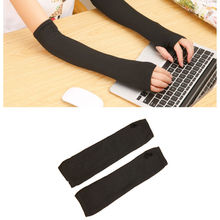 1 pair HOT Women Stretchy Long Fingerless Gloves Cashmere Blend Arm Warmers Sleeves clothing accessories(China (Mainland))