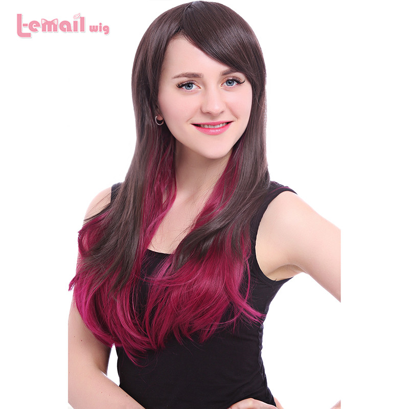 Free Shipping 60CM/24inches Mix Color Brown and Red Long Kinky Straight Synthetic Hair Wigs(China (Mainland))