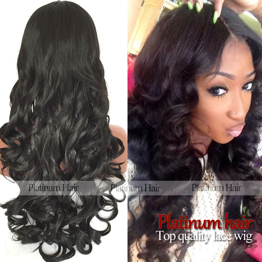 Wholesale Cheap Long Natural Wavy Wigs Black Color Synthetic Lace Front Wig Natural Body Wave Hair Fiber For Africa Black Women(China (Mainland))