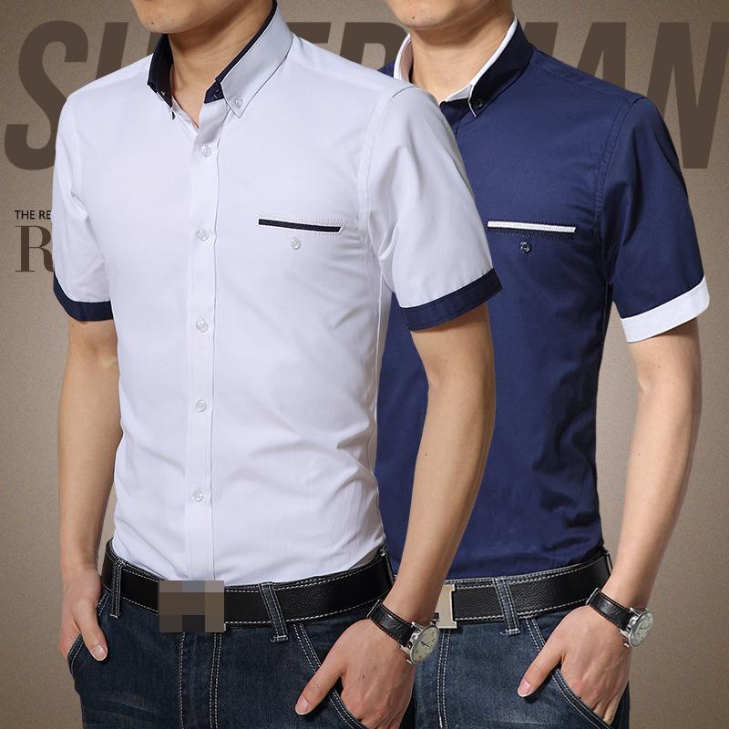 2015 Men Shirt short Sleeves patchwork Casual singel breasted bussiness Fashion Shirts British style camisa masculina(China (Mainland))