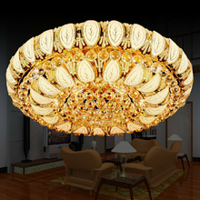 2016 Gold Round Crystal Ceiling Light For Living Room Indoor Lamp with Remote Controlled luminaria home decoration Free Shipping(China (Mainland))