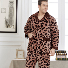 Resist Ultracold Winter Super Thick Mink Fleece Men Sleepwears Male Set Plus Size Thick Flannel Lounge Long-sleeve Pajama Sets(China (Mainland))