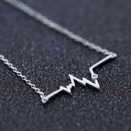 S925 Jewelry Heartbeat Necklace Beating Heart Necklace 925 Sterling Silver Heart Lines Jewelry Free shipping(China (Mainland))