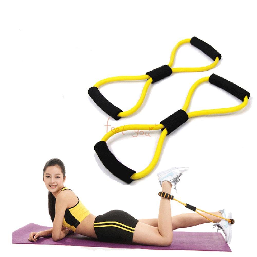 Orange Sport Yoga Fitness 8 Shape Pull Rope Latex Chest