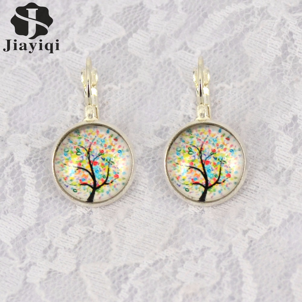 1pair Hope Dream Tree Earring Silver Plated French Lever Back Glass Cabochon Earring Girl Wonderful Gift<br><br>Aliexpress