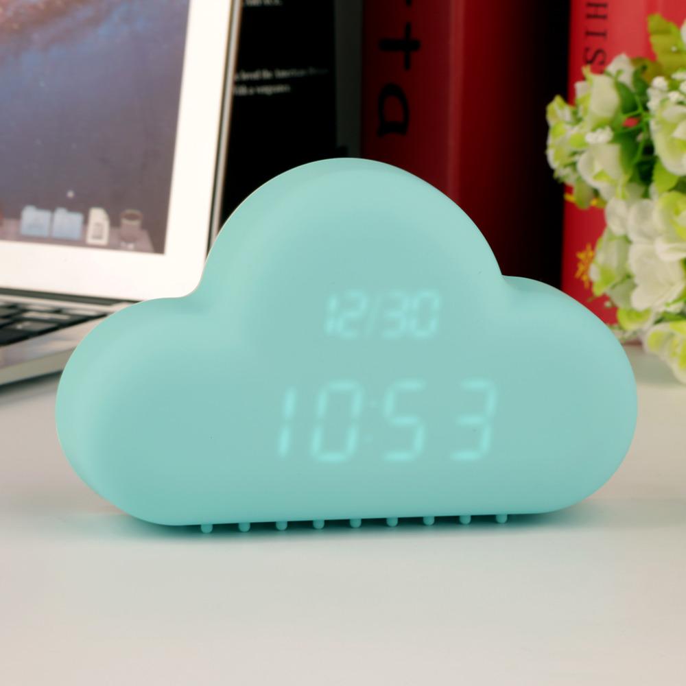 Cute Cyan Cloud Shape Sound Control Digital Alarm Clock Time Day Display Popular New(China (Mainland))