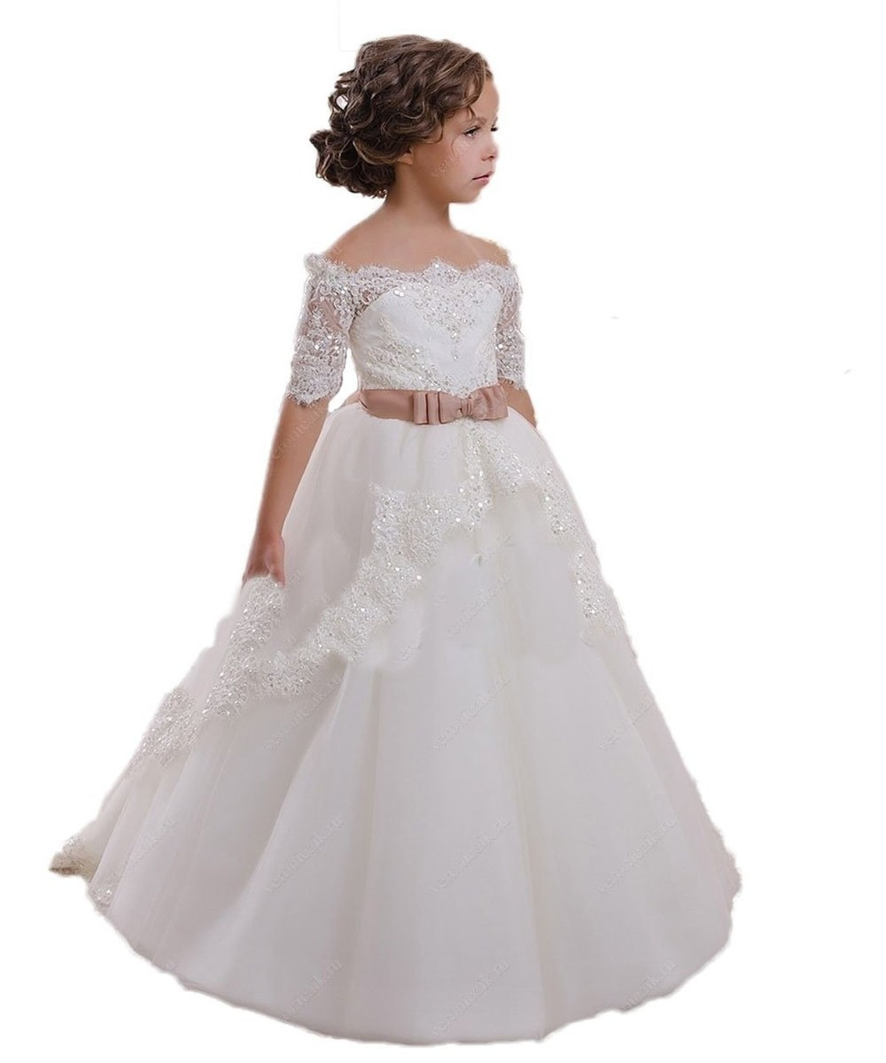 First Communion Dress Hollow Back Lace Up Appliques Half