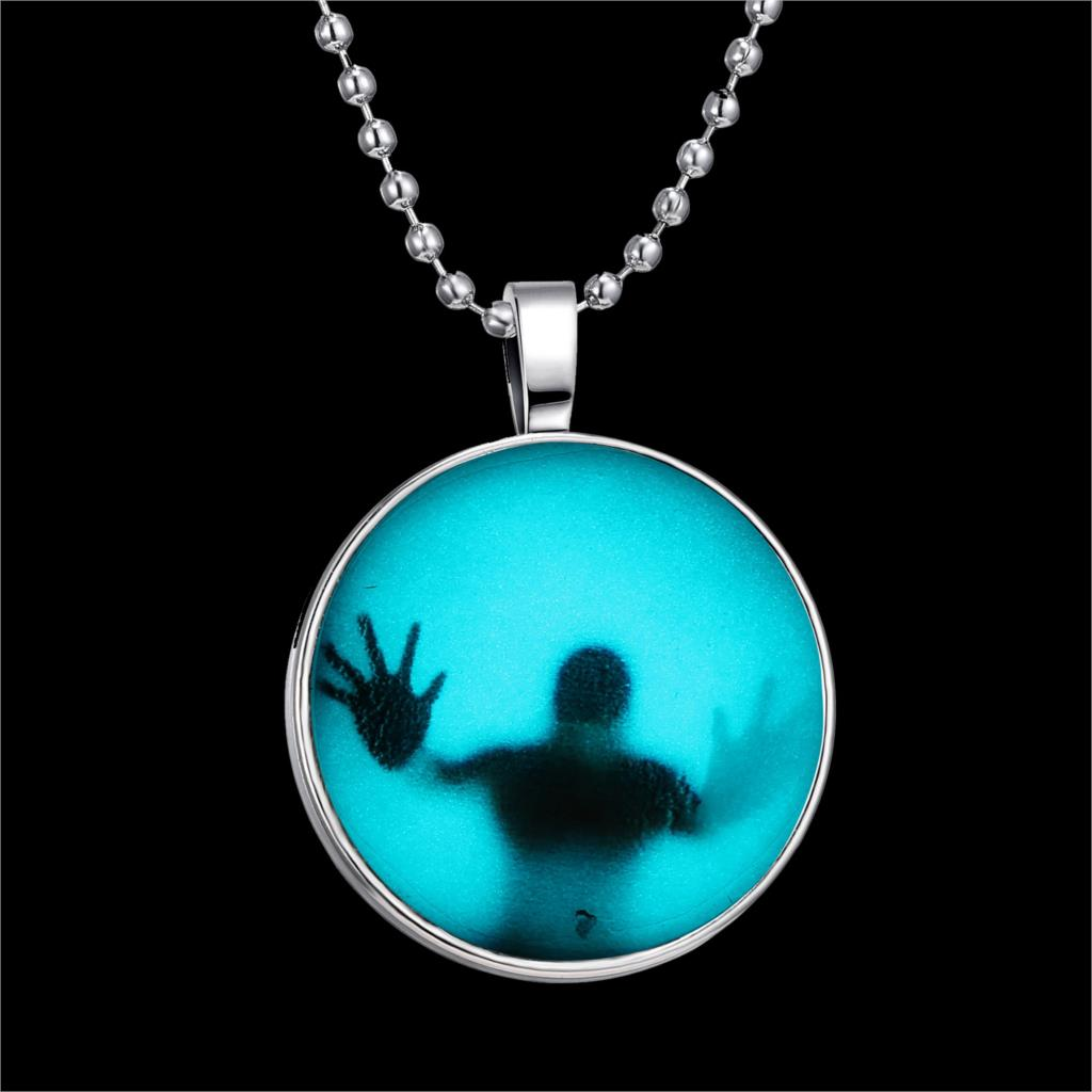 Fashion Shadow Men Style Necklace Glass Cabochon Chain Statement Pendant Necklace Glow In The Dark Fine