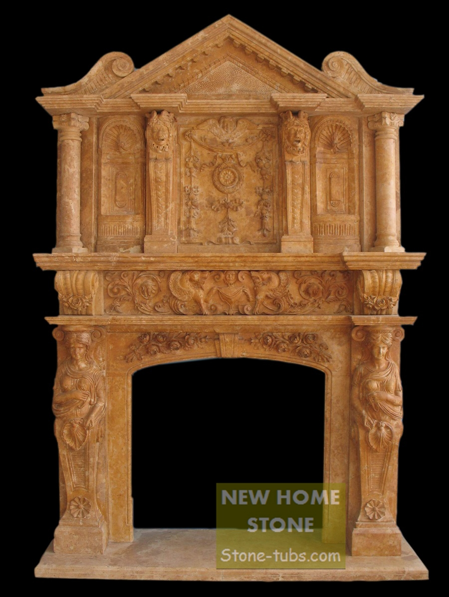 Brown Fireplace Mantel : Two layer fireplace mantel brown stone carving large wall