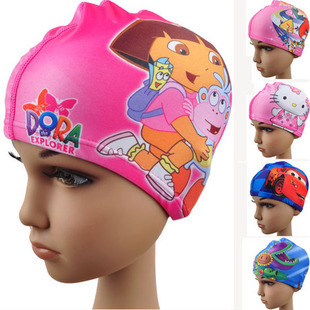 Baby Swim Cap Cartoon Lycra Kids Swim Ear Cap Cute Swimming Cap For Boy Girl Children(China (Mainland))