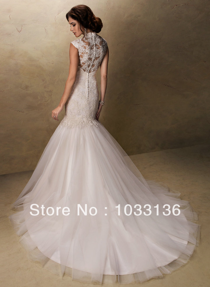 2015 discount lace covered back mermaid high neck for Lace button back wedding dress