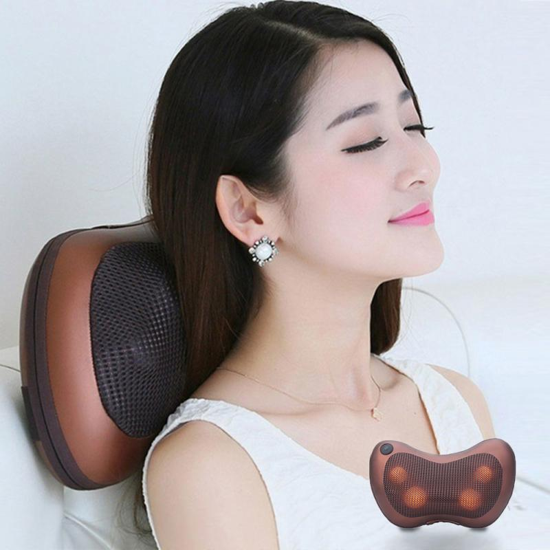 EU/US plug Electronic Home Car Vehicle-mounted Massage Pillow Cushion Lumbar Neck Massager Spondylosis Prevention