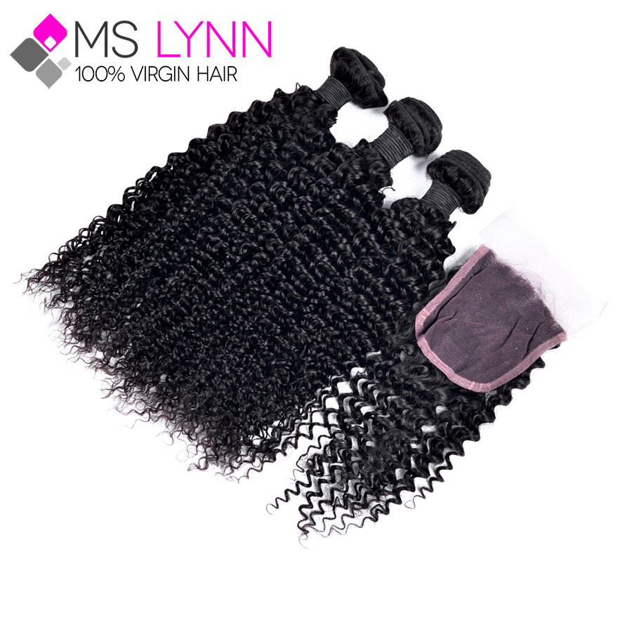 7A 3Pcs Mongolian Kinky Curly Hair With Closure Top 4 Bundles/Lot Hair With Closure Soft Human Hair Bleached Knots Lace Closure