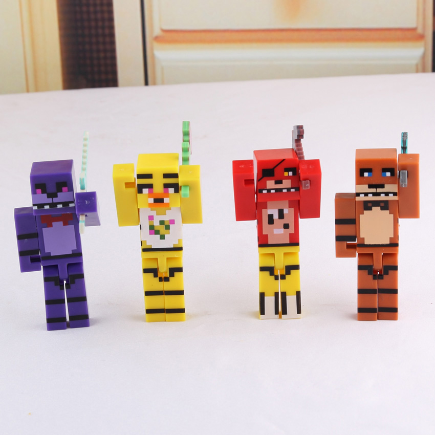 8pcs/set Minecraft Five Nights At Freddy's 4 FNAF Foxy Chica Bonnie Freddy Action Figures Kid Toy Christmas Gifts(China (Mainland))