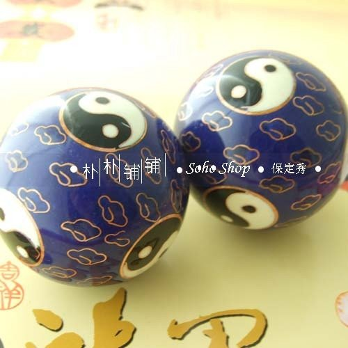 Magical 50mm Taichi iron balls, cloisonne and fadeless, musical stress relief balls, health products, all handmde. Paper box.(China (Mainland))