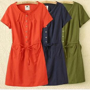 Large Size Dress Summer Style Women Casual Clothing Loose Short Sleeve Cotton Linen Eleastic Waist Dress vestidos C3(China (Mainland))