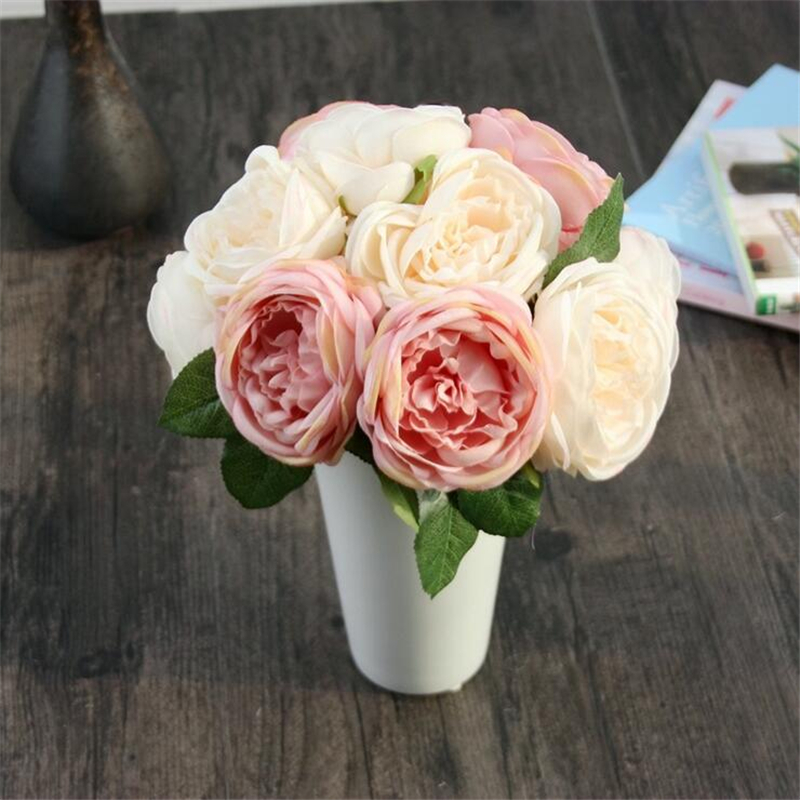 1 Bouquet 5 Heads Vintage Artificial Peony Silk Flower Wedding Home Decor party decoracion artificial roses wedding decoration(China (Mainland))