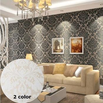 European Vintage Embossed Flocking Wallpapers Roll Damask Glitter For Living room Sofa Backdrop Home Decoration White Black R53