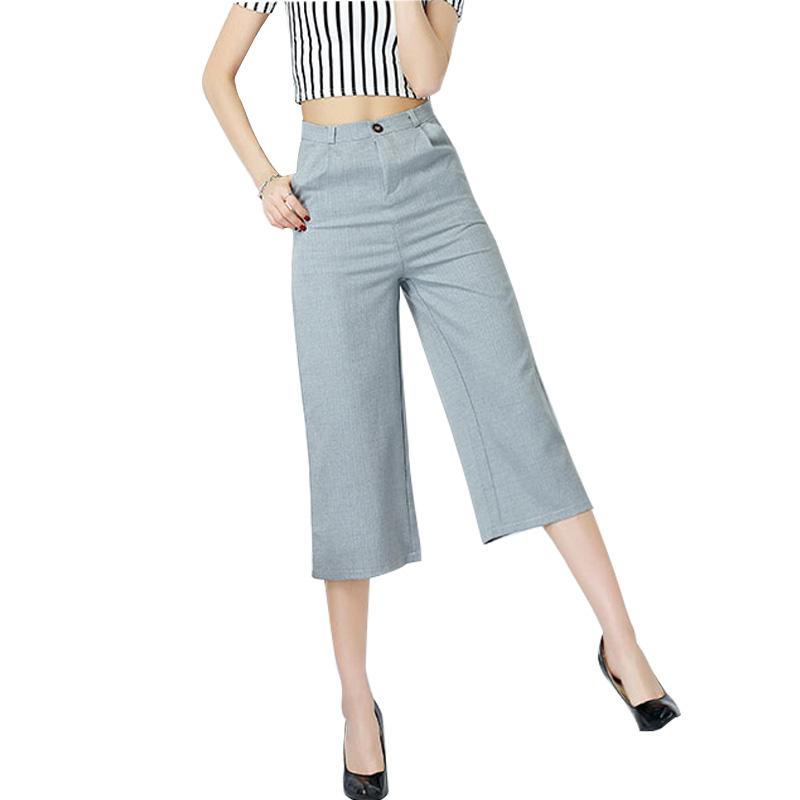 2016 summer fashion mid waist black gray wide leg pants women Casual loose capris trousers Pantalon Femme Plus size S-XXL M245 - Lu MS store