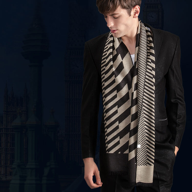 2014 European American Fashion New Autumn Winter Men'S Striped Silk Scarf Personality Thick Warm Scarves H-NSWJ23 - Online Store 738068 store
