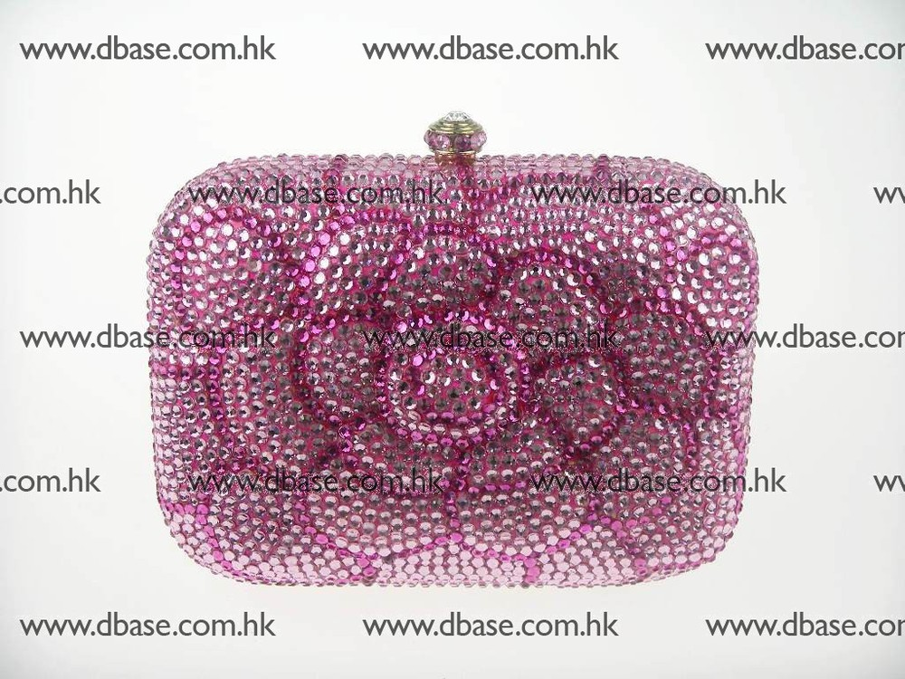 7707 Crystal Pink Floral Flower Lady Fashion Evening Bridal Party Night Metal purse handbag clutch bag IN FREE SHIPMENT<br><br>Aliexpress