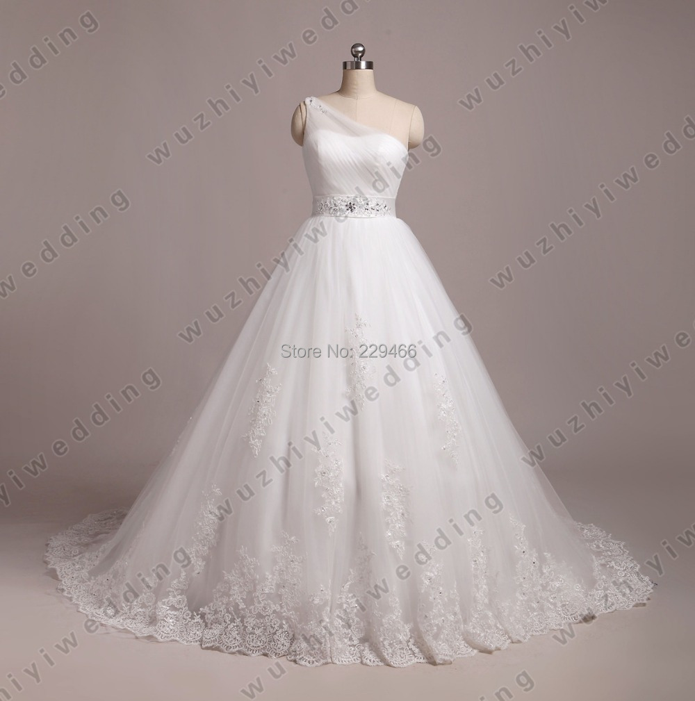 white one shoulder a line wedding dress pleated designer