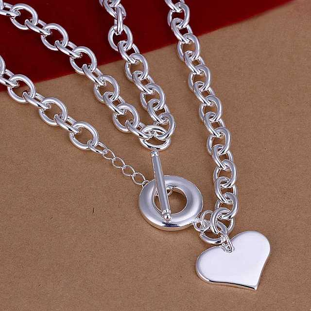 Wholesale!!Free Shipping 925 Silver Necklace,Fashion Sterling Silver Jewelry heart TO Necklace SMTN255