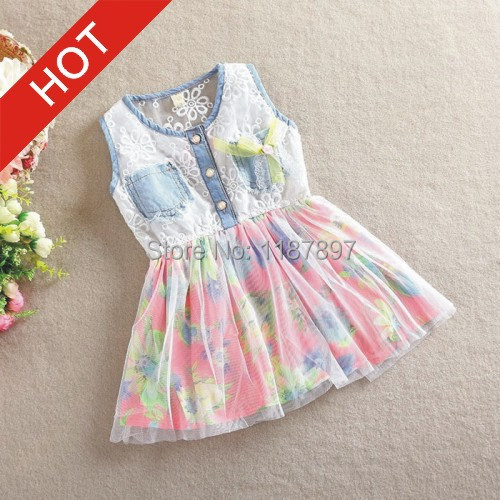 Sky.One New 2015 Spring And Summer Fashion Dress Cotton Lace Vest Girl Dress Baby Girl Clothes Retail aa79(China (Mainland))