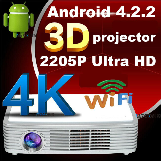 2205P Android smart Full HD DLP 3LED 4K chipset projector with WIFI Blueray HD 3D Bluetooth pocket projectors Super bright !(China (Mainland))