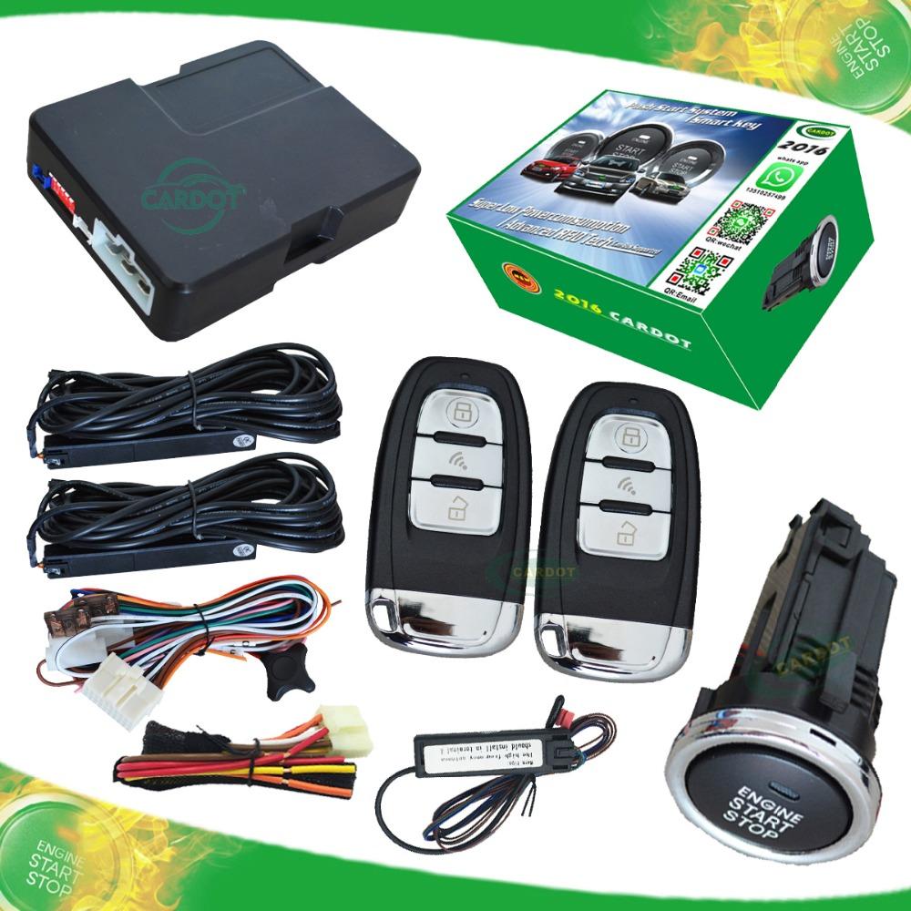 NEW RFID card car alarm system PKE car alarm RFID smart key lock or unlock automatically remote start push start button(China (Mainland))