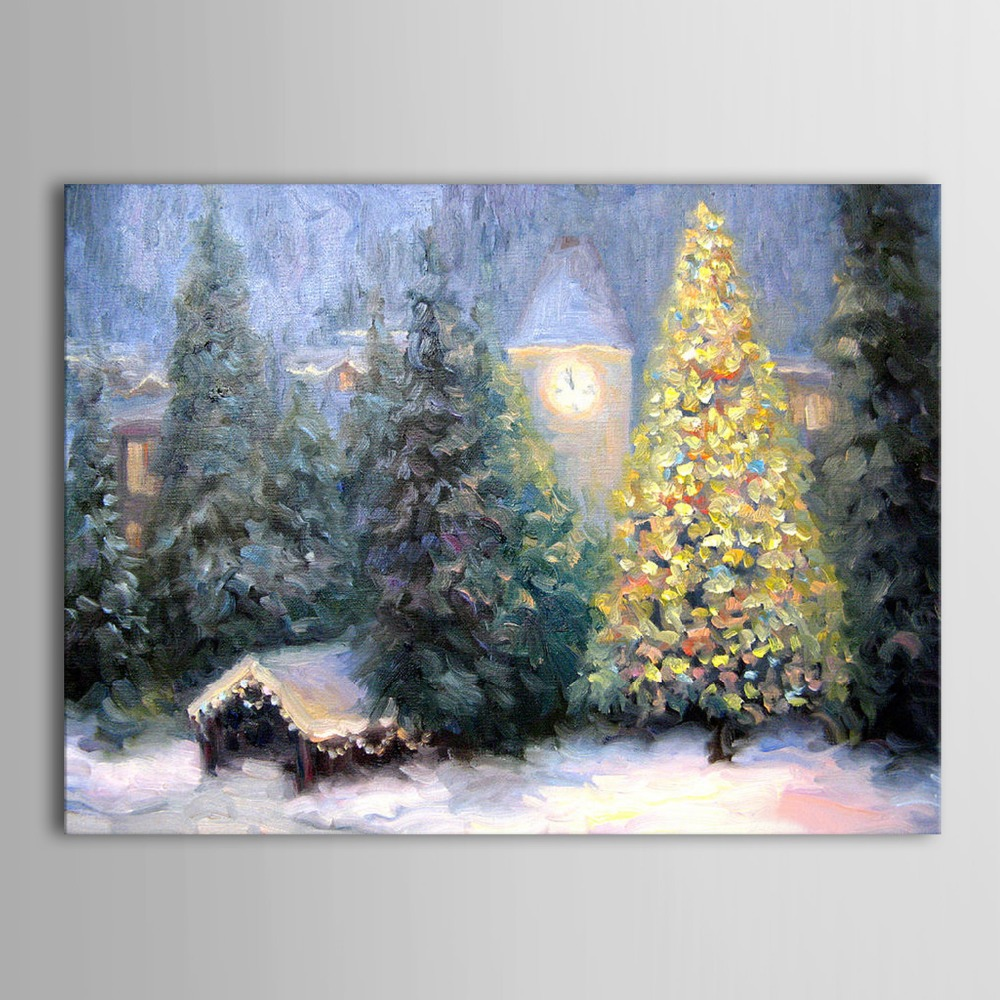Hand Painted Oil Painting Landscape Christmas Decoration Tree for Home Decor(China (Mainland))