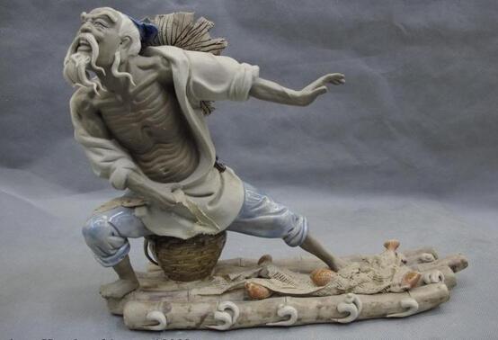 free shipping USPS to USA S0046 China Clay Pottery WuCai porcelain Lucky Fisherman Fishing Fish Scoop net Statue(China (Mainland))
