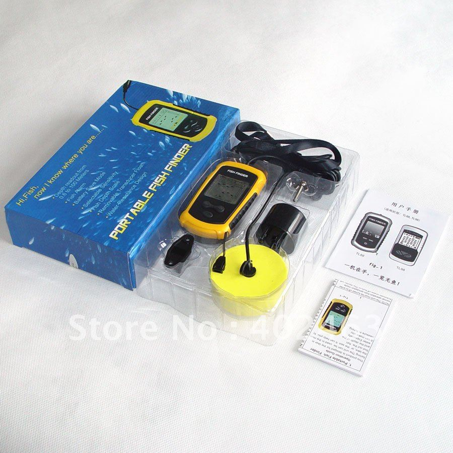1pcs portable sonar lcd fish depth finder alarm 100m ap for Ice fish finder