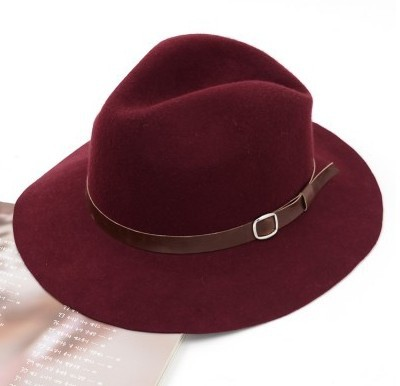 British retro leather buckle pure wool casual wool cotton caps flat brimmed hat basin hat autumn and winter female jazz fedoras(China (Mainland))