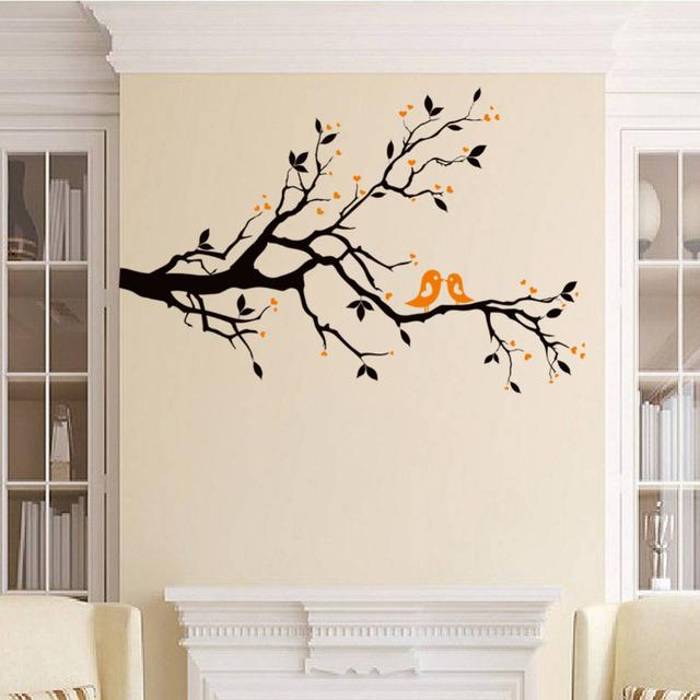 Любить птицы на дереве наклейки свадьбы украшения дома на фреске искусство съемный X014 diy adesivo де parede