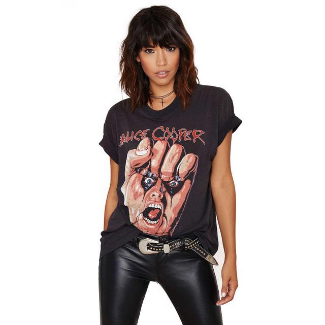 Бренд летом женские панк футболка с коротким рукавом панк вершины тройники для дам мода элис купер печать группа Tshirt хлопковые рубашки