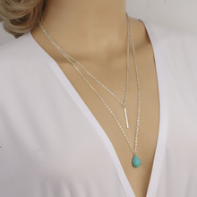 New Arrival Bohemian Jewelry 2 Layered Water Drop Turquoise Pendant Necklace Spike Long Necklaces For Women