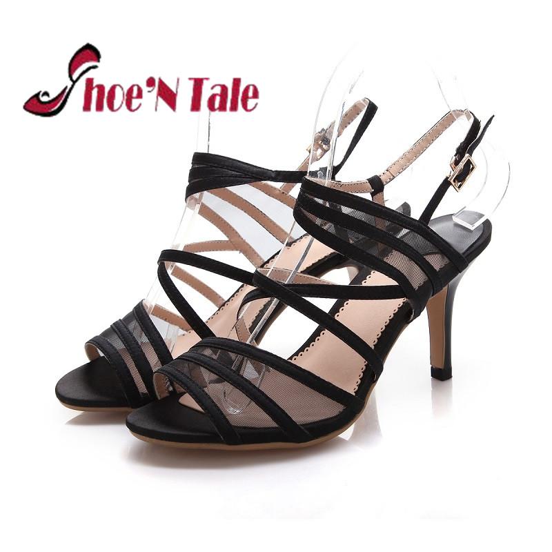 Shoe'N Tale Sexy High Heels Sandals Women Sandals 2016 Black Sexy Thin High Heels Shoes Woman Sexy Lady Sandals
