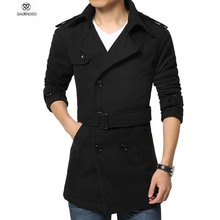 Winter Men Trench Coat Long Double-breasted Trenchcoat Mens Plus Size  5XL 4XL Outwear Overcoat Warm Men Trench Khaki Black(China (Mainland))