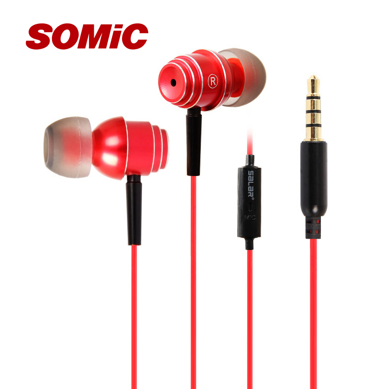 Гаджет  Somic Black & red EM-511 In-Ear Stereo music Headphone with Mic for  iphone Samsung High Quality Headphones None Бытовая электроника