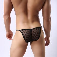 High X Sexy Breathable Plaid Briefs Shorts Transparent Mesh Men Underwear Simple Mini Briefs Men Low-waist Gay Underwear Net