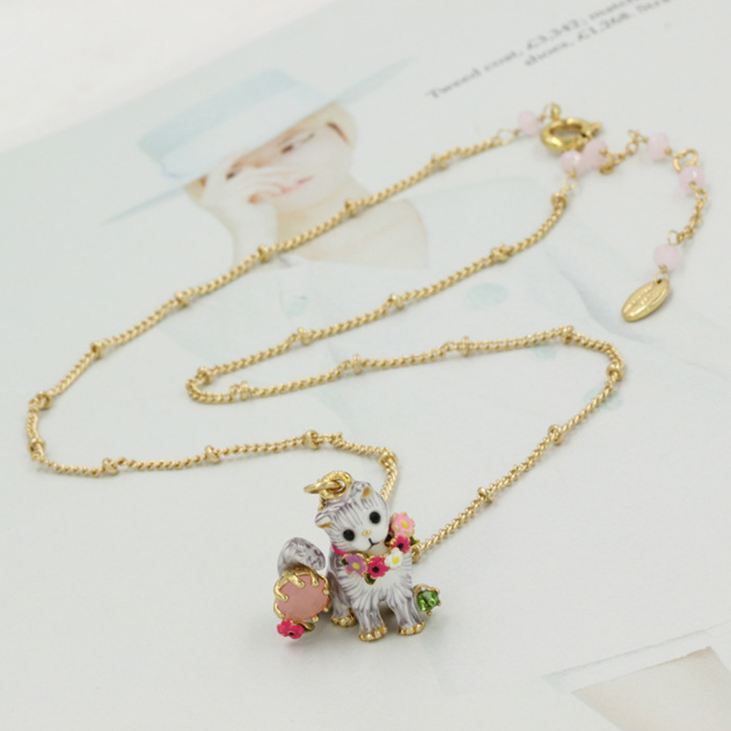 New Lovely Cat Gem Flower Necklace Copper Gold Plated Enamel All-match Party Prom Necklace(China (Mainland))