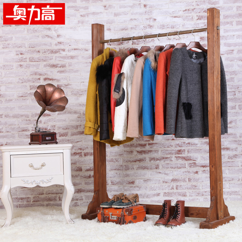 Austrian high clothing hangers display solid wood floor for Furniture to hang clothes